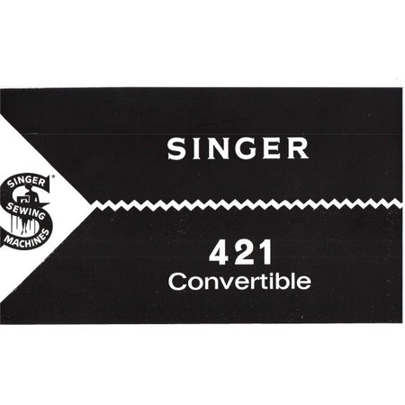 Instruction Manual, Singer 421