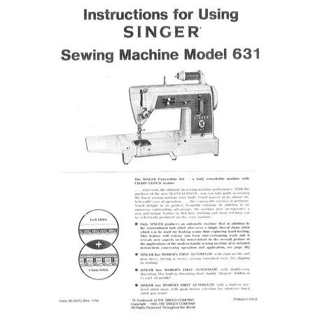 Instruction Manual, Singer 631