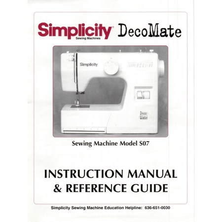 Instruction Manual, Simplicity S07