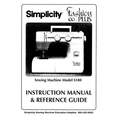 Instruction Manual, Simplicity S180
