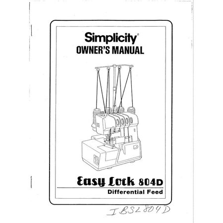Instruction Manual, Simplicity SL804D