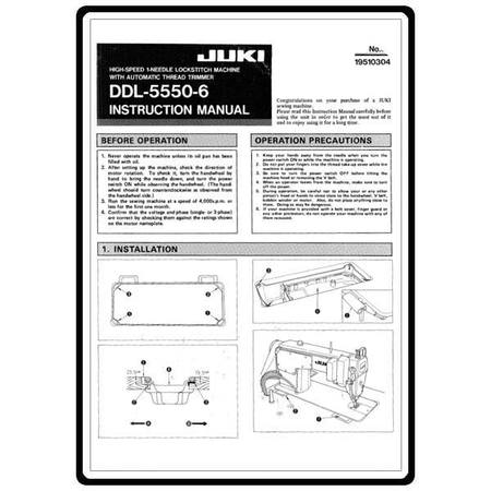 Instruction Manual, Juki DDL-5550-6