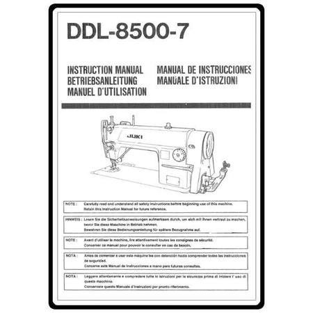 Instruction Manual, Juki DDL-8500-7
