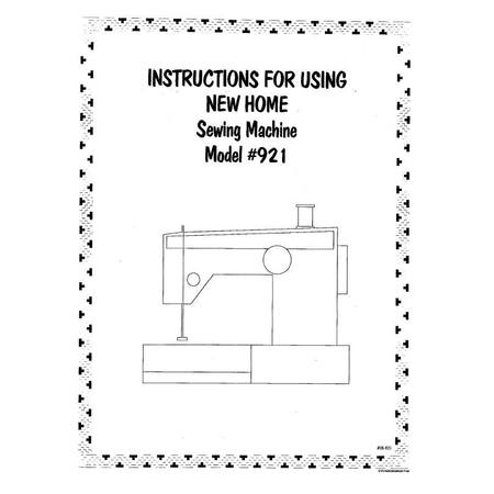 Instruction Manual, Janome (Newhome) 921