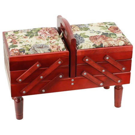 3-Tier Wooden Sewing Caddy with Tapestry Top