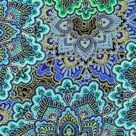 Chong-a Hwang, Enchanted Plume, Mandala Fabric, Metallic