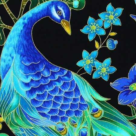 Chong-a Hwang, Enchanted Plume, Peacock Fabric, Metallic