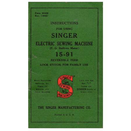 Instruction Manual, Singer 15-91