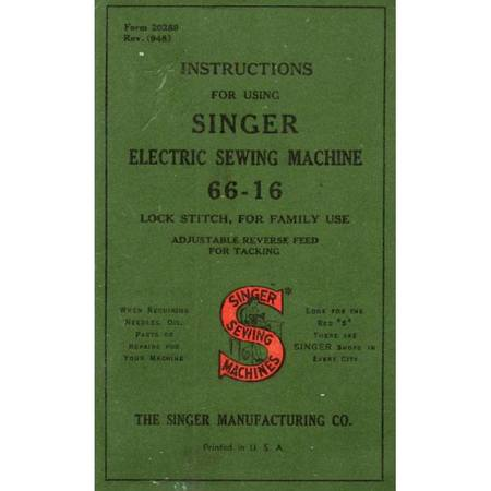 Instruction Manual, Singer 66-16