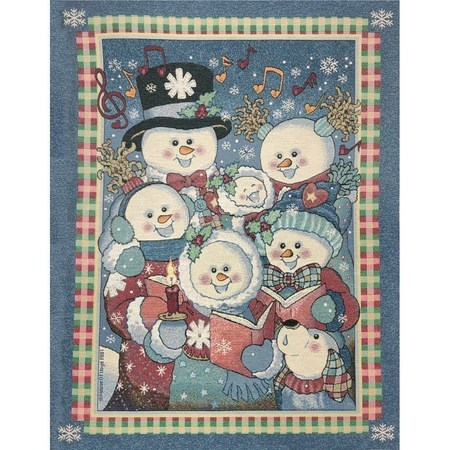 Snowmen Carolers Tapestry Fabric Panel