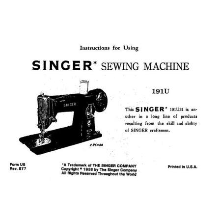 Instruction Manual, Singer 191U