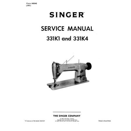 Instruction Manual, Singer 331K