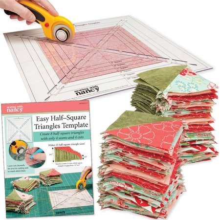 Easy Half-Square Triangles Template, Sewing with Nancy