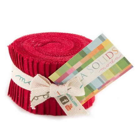 Christmas Red, Moda Bella Solids Fabric, Junior Jelly Roll