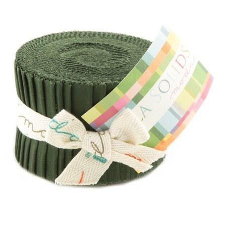 Pine, Moda Bella Solids Fabric, Junior Jelly Roll