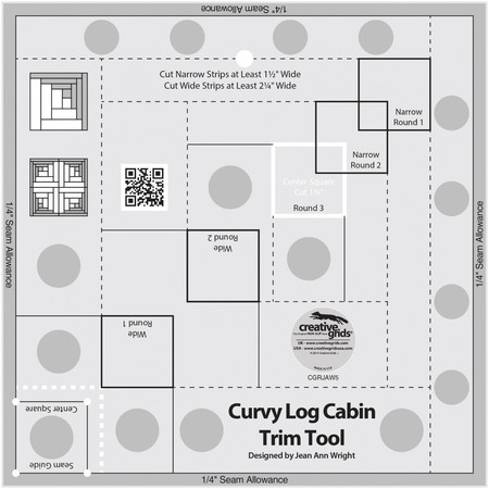 "Curvy Log Cabin Trim Tool 8"" Finished Blocks Creative Grids"