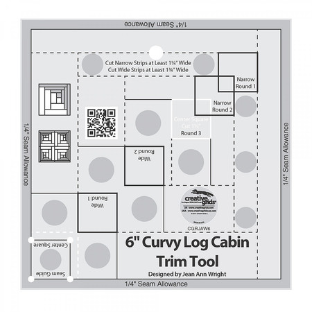 "Curvy Log Cabin Trim Tool 6"" Finished Blocks, Creative Grids"