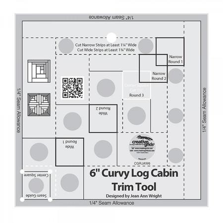 Curvy Log Cabin Trim Tool 6in Finished Blocks, Creative Grids