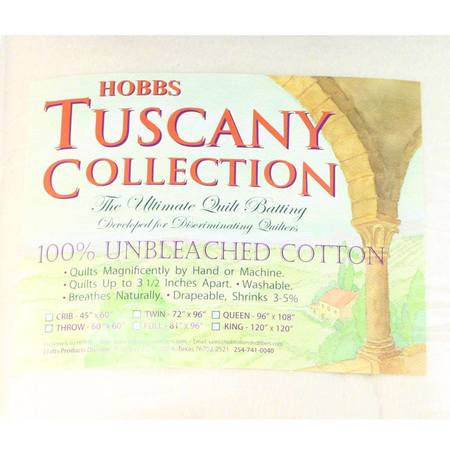 "Hobbs Tuscany Unbleached Cotton Batting, 45""x 60"" Crib"