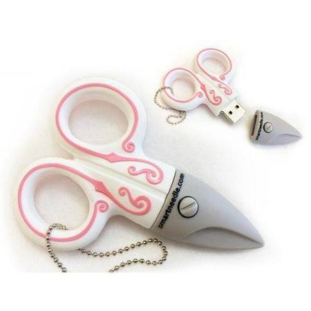 4GB USB Flash Drive, White Scissors, Smartneedle