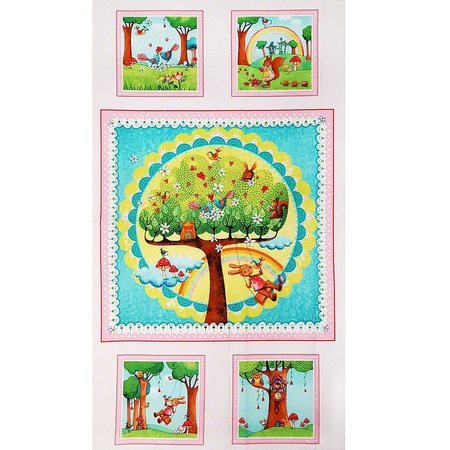 Red Rooster, Rainbow Woodland Fabric Panel