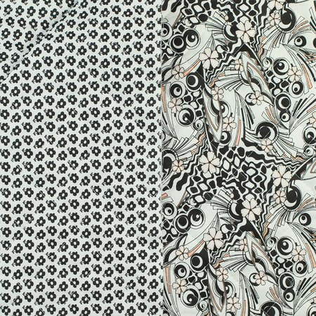 Reversible, Pre-Quilted Fabric, Abstract and Floral, Black and White