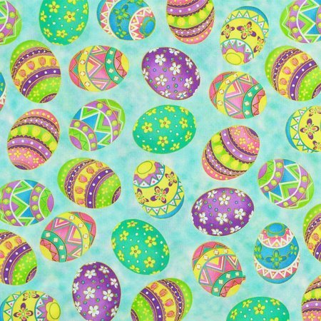Cranston, Tossed Easter Eggs Fabric, Aqua