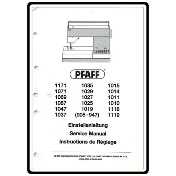 Service Manual, Pfaff 1014