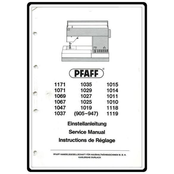 Service Manual, Pfaff 1025