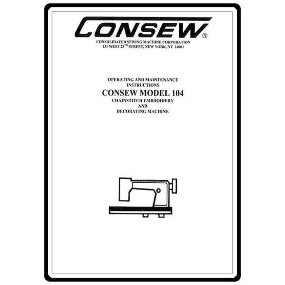 Instruction Manual, Consew 104