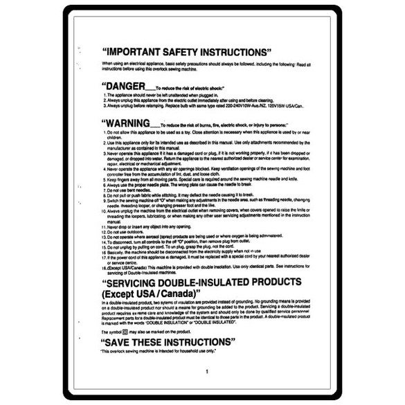 Instruction Manual, Bernina 1150MDA