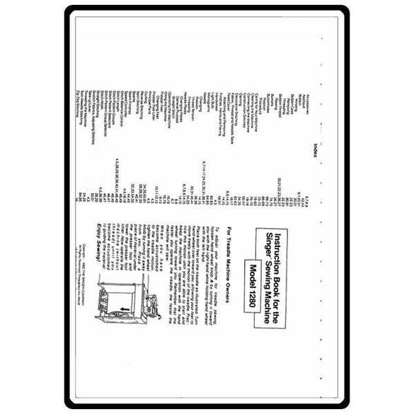 Instruction Manual, Singer 1280