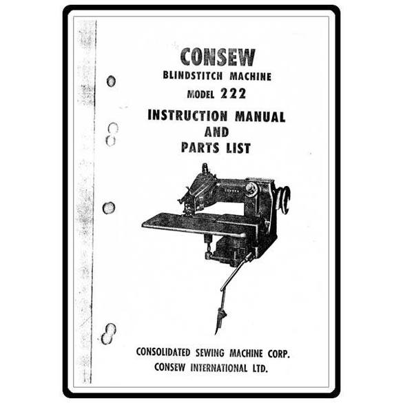 Instruction Manual, Consew Blindstitch 222