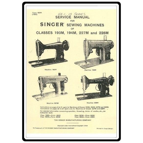 Service Manual, Singer 227M