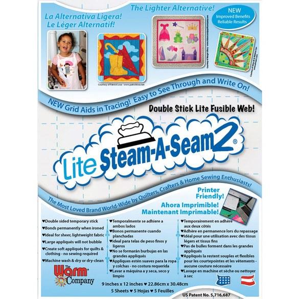 "Lite Steam-A-Seam 2 Double Stick Fusible Web - 9""x12"" (5pk)"
