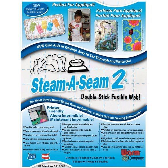 "Steam-A-Seam 2, Double Stick Fusible Web - 9""x12"" (5pk)"