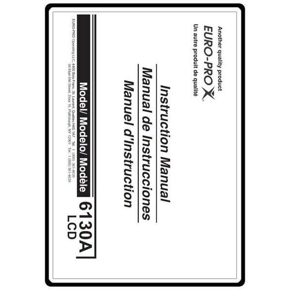 Instruction Manual, Euro Pro 6130A2