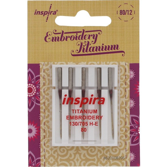 Inspira Titanium Embroidery Machine Needles H-E (5pk)