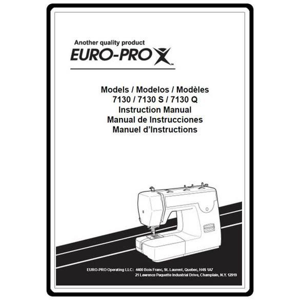 Instruction Manual, Euro Pro 7130