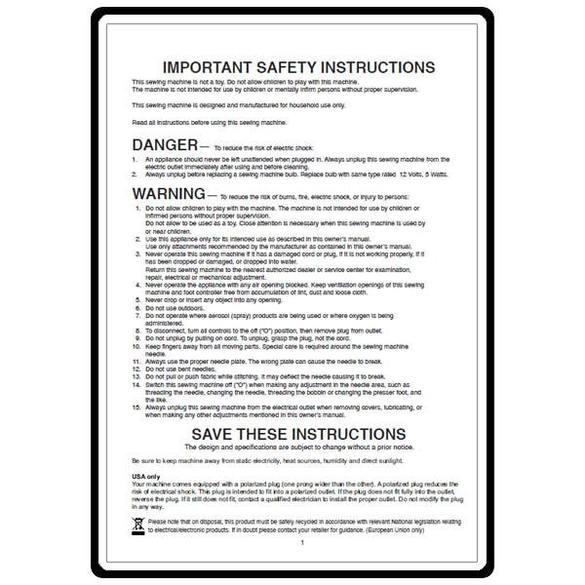 Instruction Manual, Elna 8300