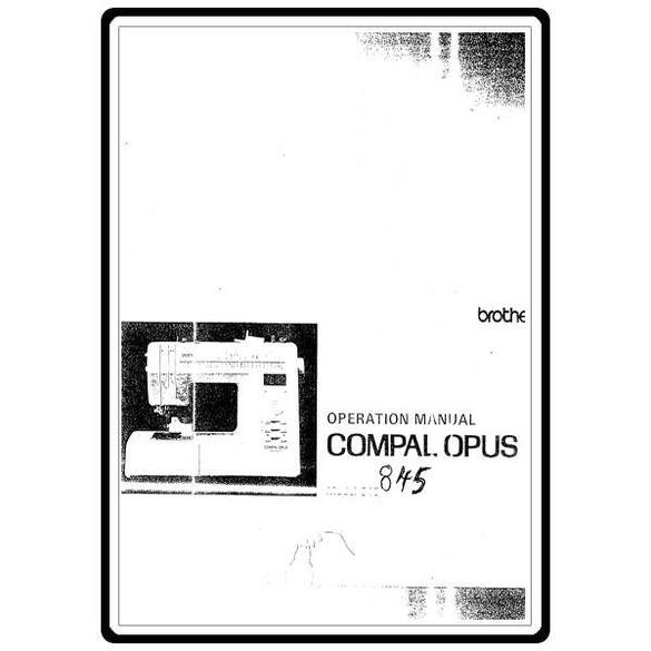 Instruction Manual, Brother Compal Opus 845