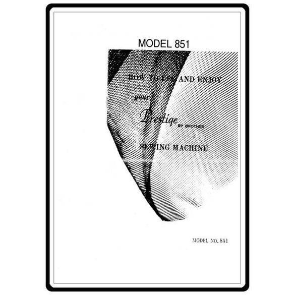 Instruction Manual, Brother Prestige 851
