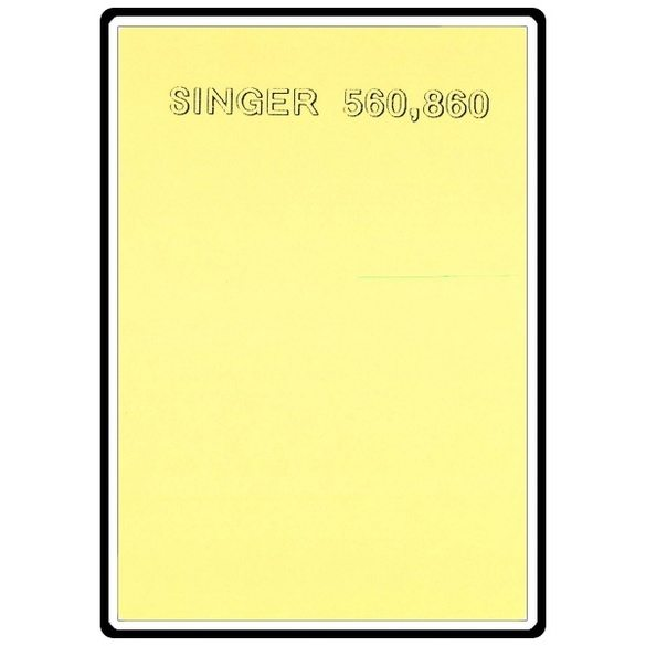 Instruction Manual, Singer 860
