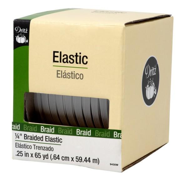 "Dritz, White Braided Elastic - 1/4"" x 65yds"