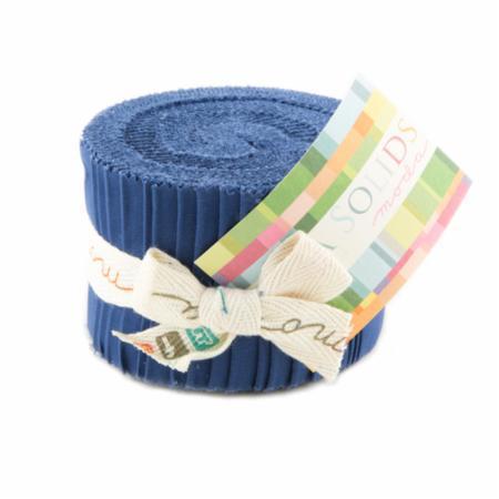 Blue, Moda Bella Solids Fabric, Junior Jelly Roll