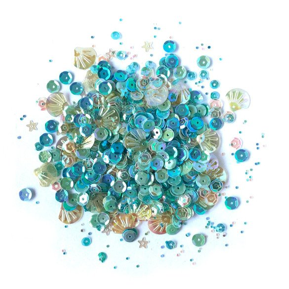 Buttons Galore and More Denim Blues Sequin Tin