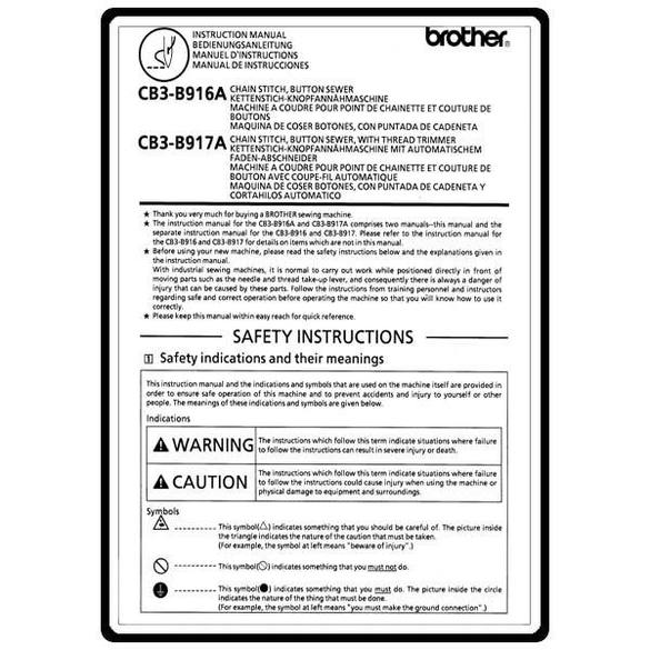 Instruction Manual, Brother CB3-B916A