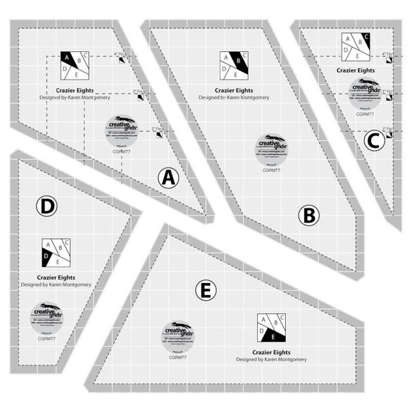 Creative Grids Crazier Eights Template Set - 5pc