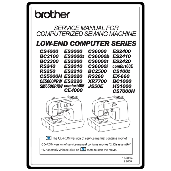 Service Manual, Brother CS5000H