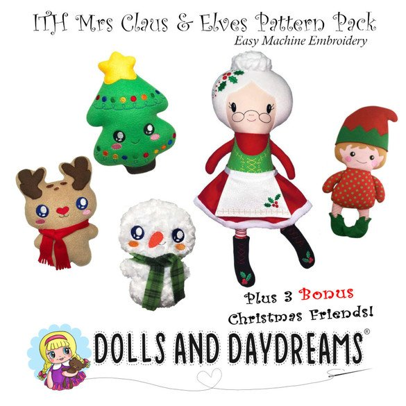 Mrs. Claus and Friends Embroidery Dolls Pattern Pack
